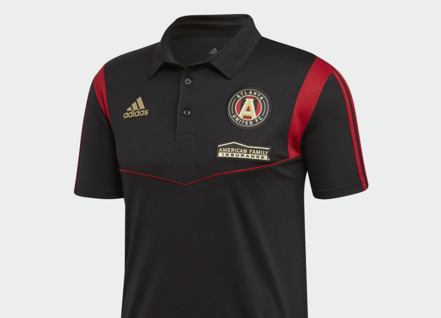 Adidas 2019 Atlanta United FC Polo Shirt - Black / Victory Red #AtlantaUnitedFC #mls #atlutd #adidasfootball #adidassoccer