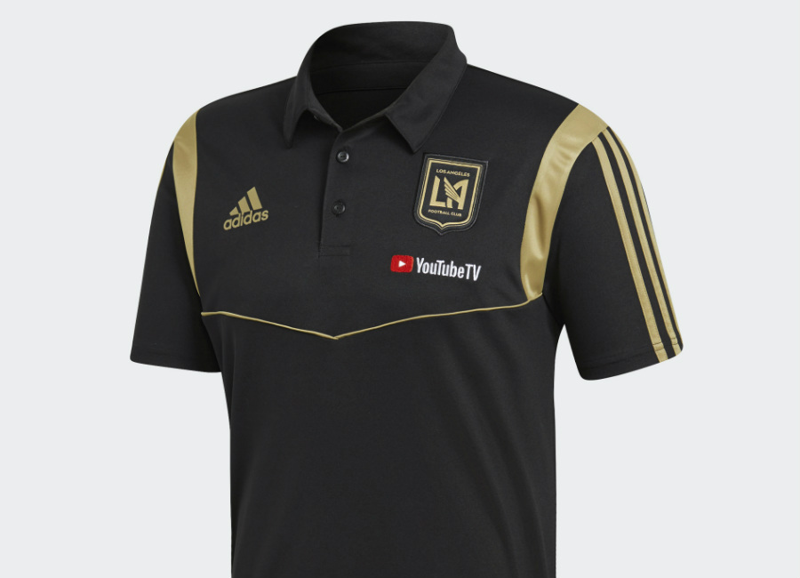Adidas 2019 Los Angeles FC Polo Shirt - Black / Dark Football Gold #LosAngelesFC #SomosLAFC #mls #adidasfootball #adidassoccer