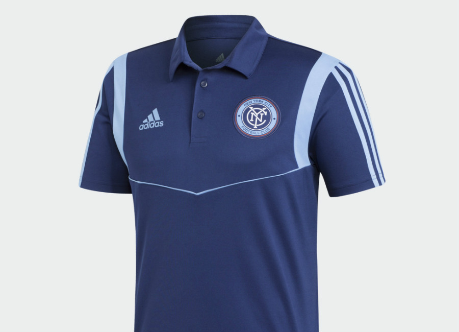 Adidas 2019 New York City FC Polo Shirt - Night Sky / Bahia Light Blue #nycfc #NewYorkCityFC #mls #adidasfootball #adidassoccer