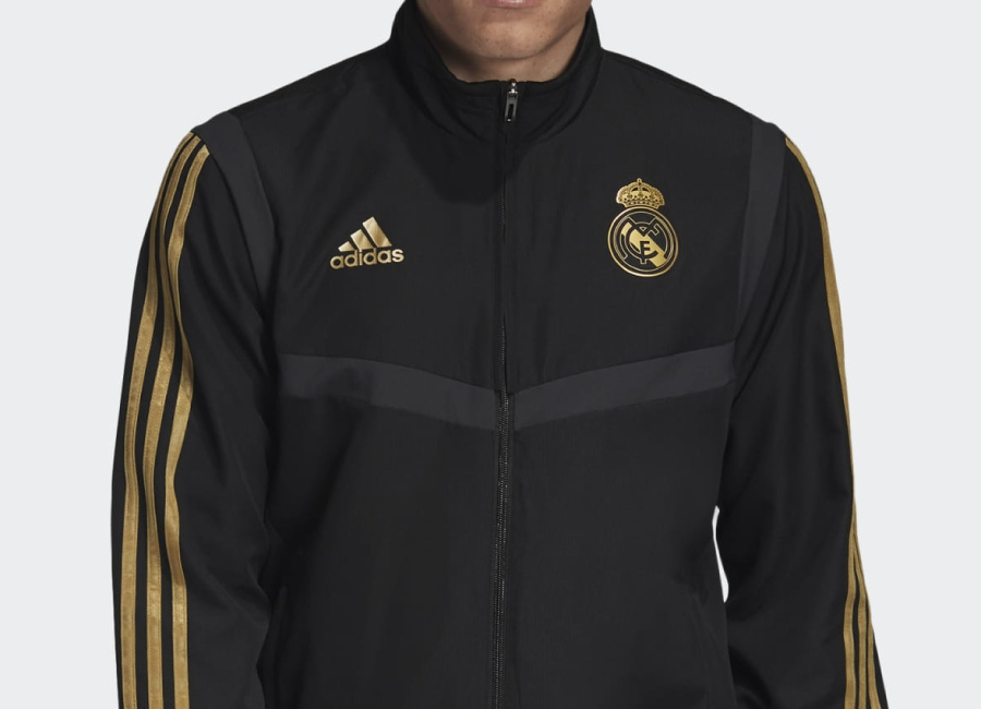 Adidas 2019 Real Madrid Presentation Track Top - Black / Dark Football Gold #Realmadrid #rmcf #Adidasfootball