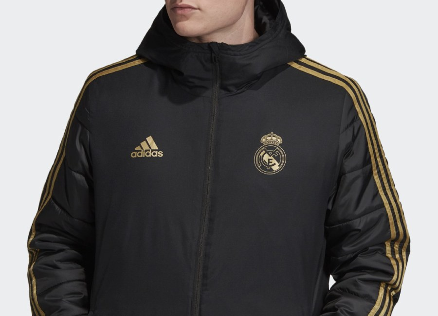 Adidas 2019 Real Madrid Winter Jacket - Black / Dark Football Gold #realmadrid #tmcf #adidasfootball
