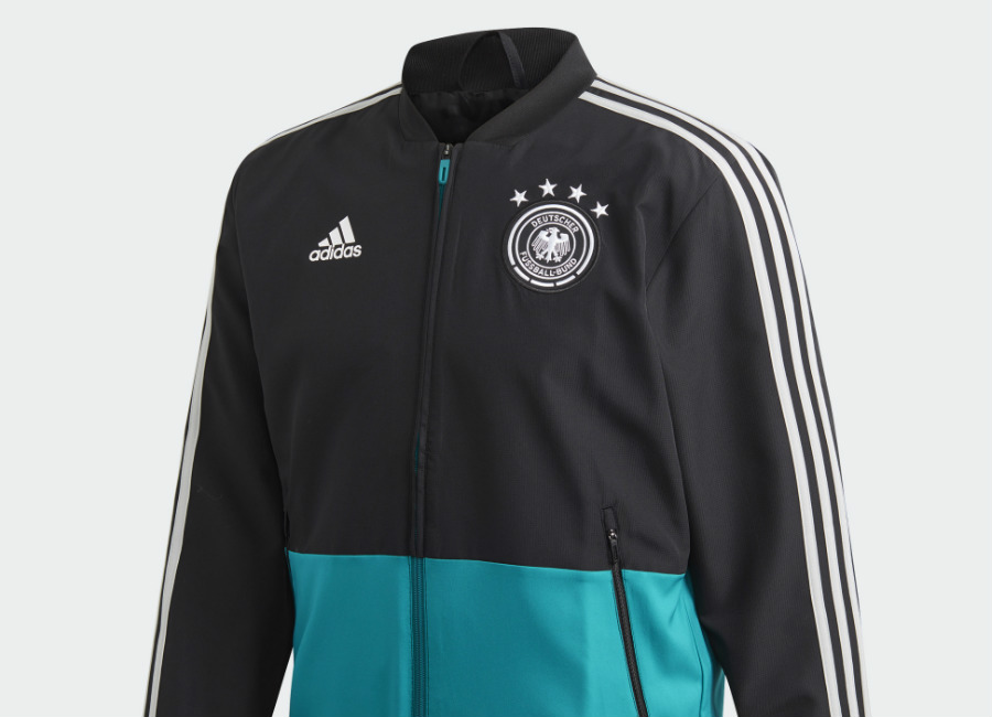 Adidas 2019 Germany Presentation Jacket - Black / Eqt Green / Grey Two