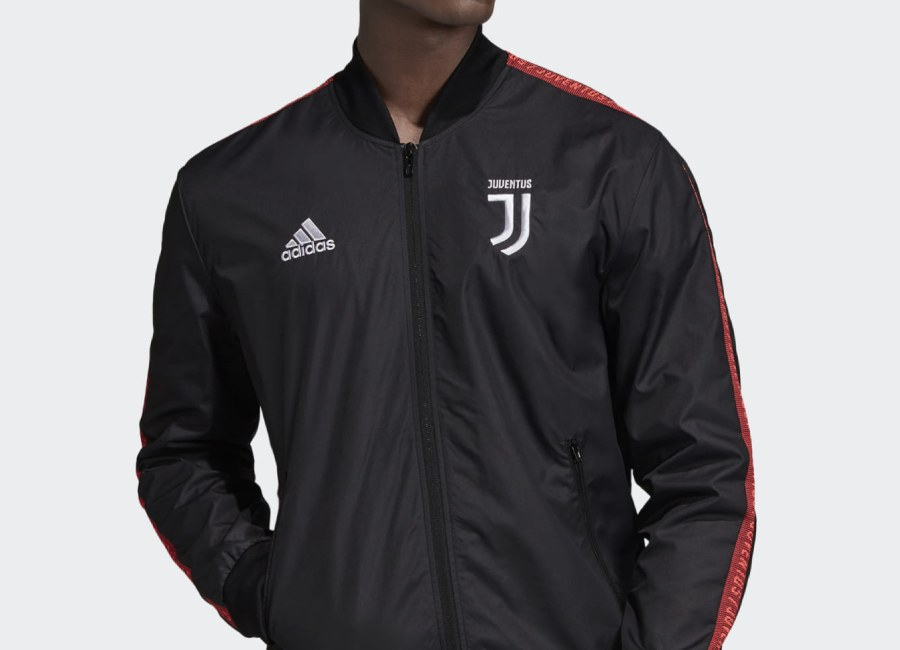 Adidas 19/20 Juventus Anthem Jacket - Black / Turbo #juve #juventus #adidasfootball