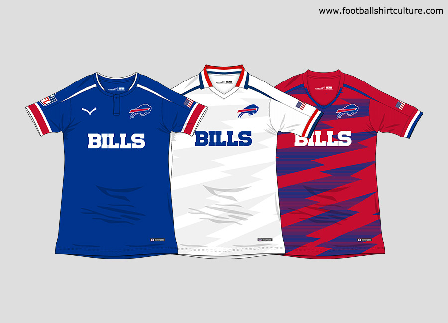 "Buffalo Bills ""NFL to Soccer"" Football Kit Concept #BuffaloBills #NFL #GoBills #conceptkit"