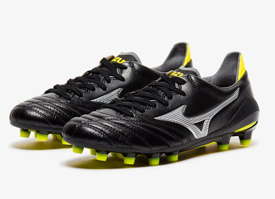 Mizuno Morelia Neo II Made in Japan FG - Black / Silver / Safety Yellow #Mizuno #MizunoFootball #footballboots