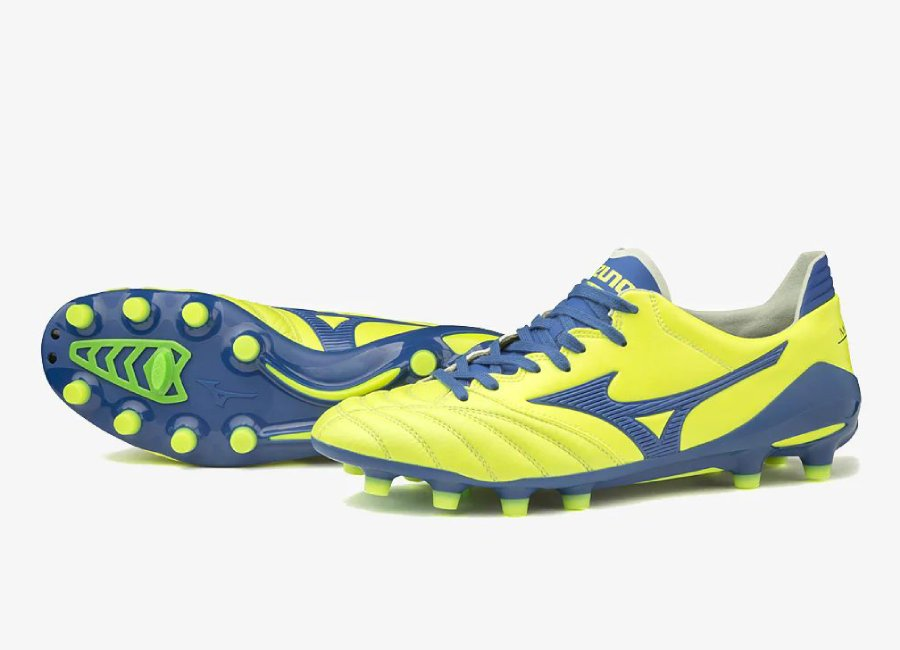 Mizuno Morelia Neo II Made In Japan FG - Safety Yellow / True Blue #Mizuno #Mizunofootball #footballboots