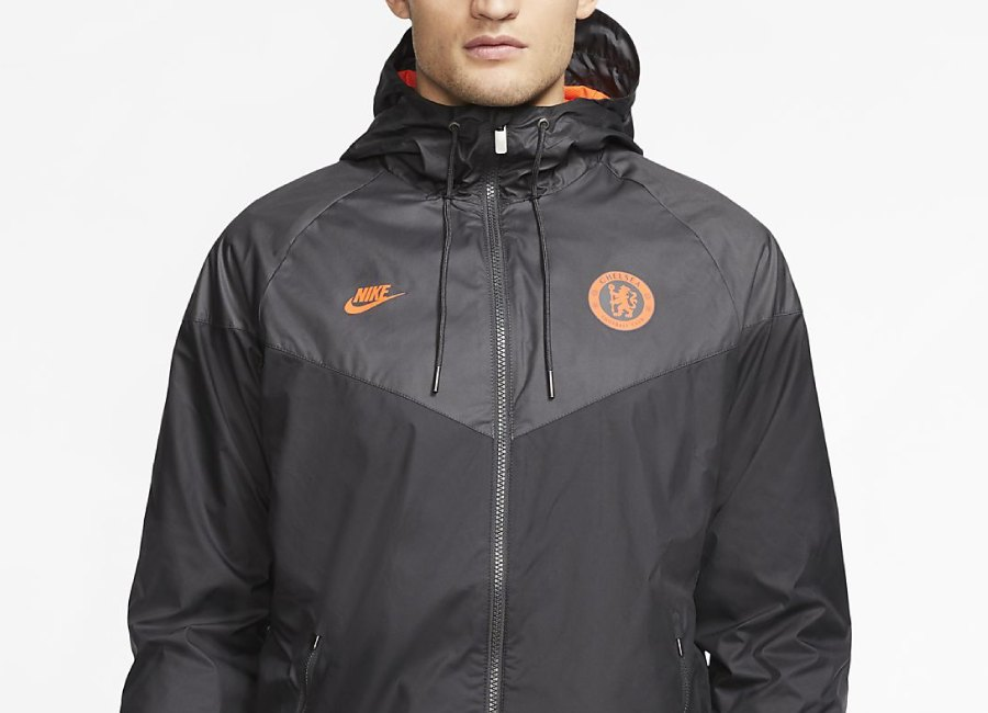 Nike Chelsea FC Windrunner Jacket - Black / Anthracite / Black / Rush Orange #chelseafc #Chelsea #nikefootball