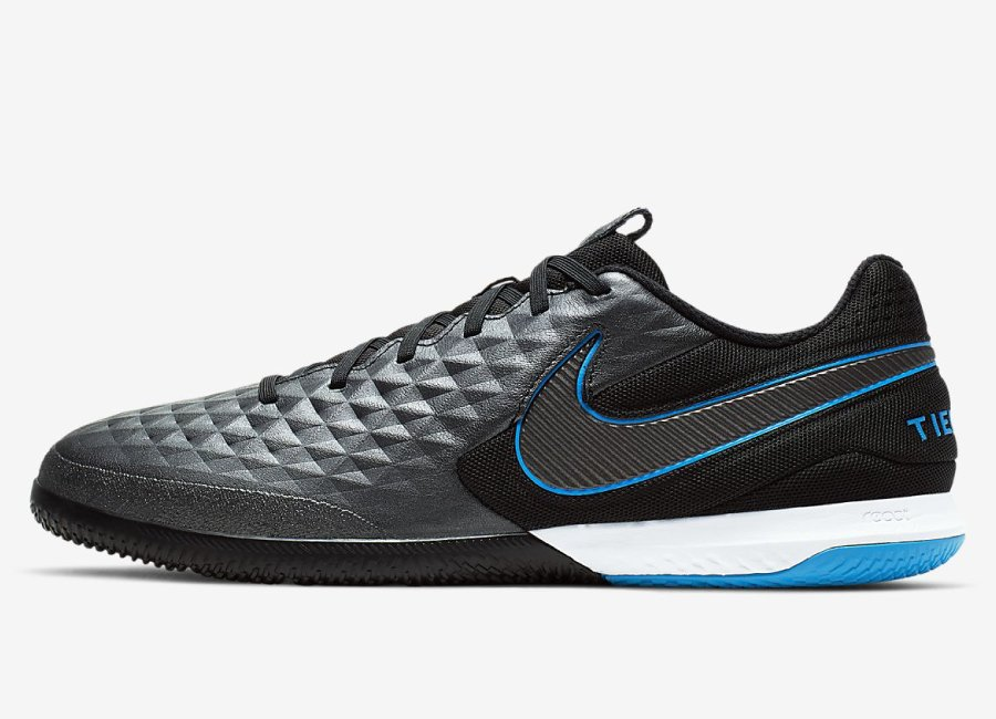 Nike React Tiempo Legend 8 Pro IC Under The Radar - Black / Blue Hero / Black #futsal #nikefootball