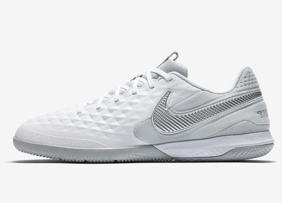Nike React Tiempo Legend 8 Pro IC Under The Radar - White / Wolf Grey / Pure Platinum / Chrome #futsal #nikefootball