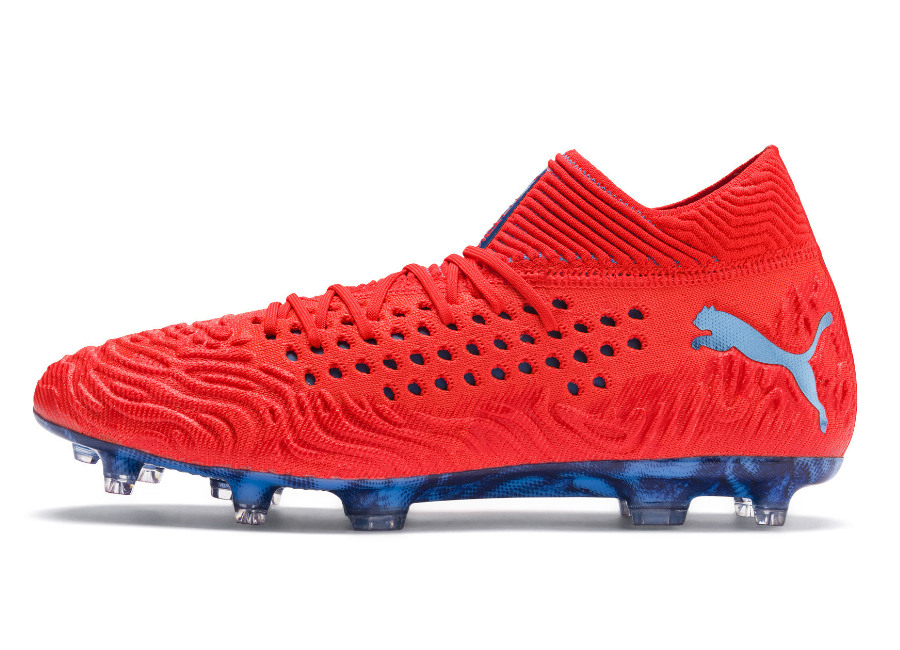 Puma Future 19.1 Evoknit FG/AG Power Up - Red Blast / Bleu Azur #footballboots #pumafootball