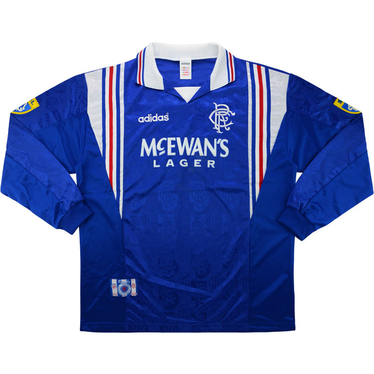 Rangers 1996-97 Match Worn Sony MiniDisc Euro Sixes Home Shirt
