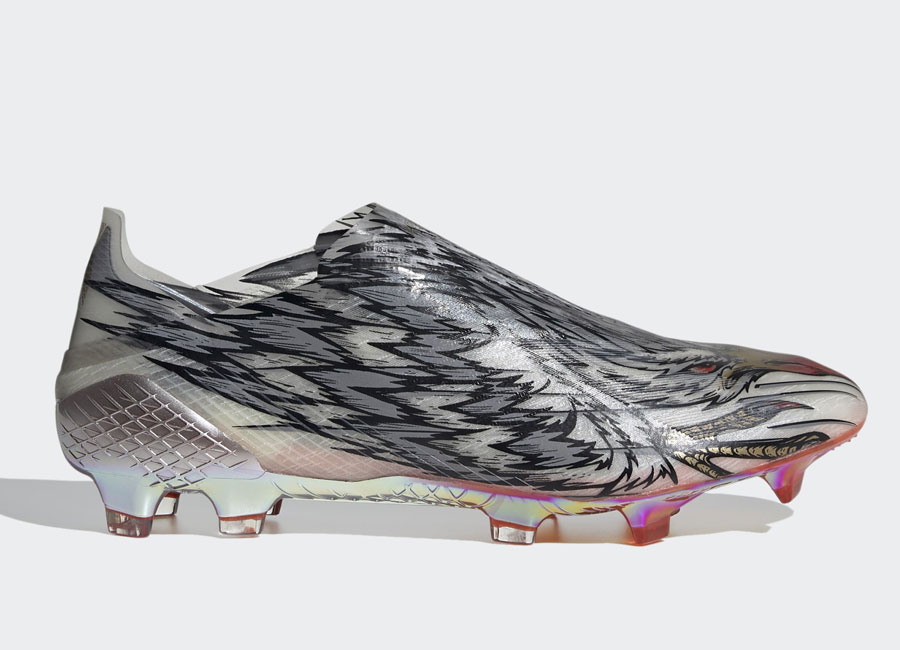 Adidas X Ghosted+ Peregrine Speed FG - Silver Metallic / Cloud White / Gold Metallic #adidasfootball #footballboots