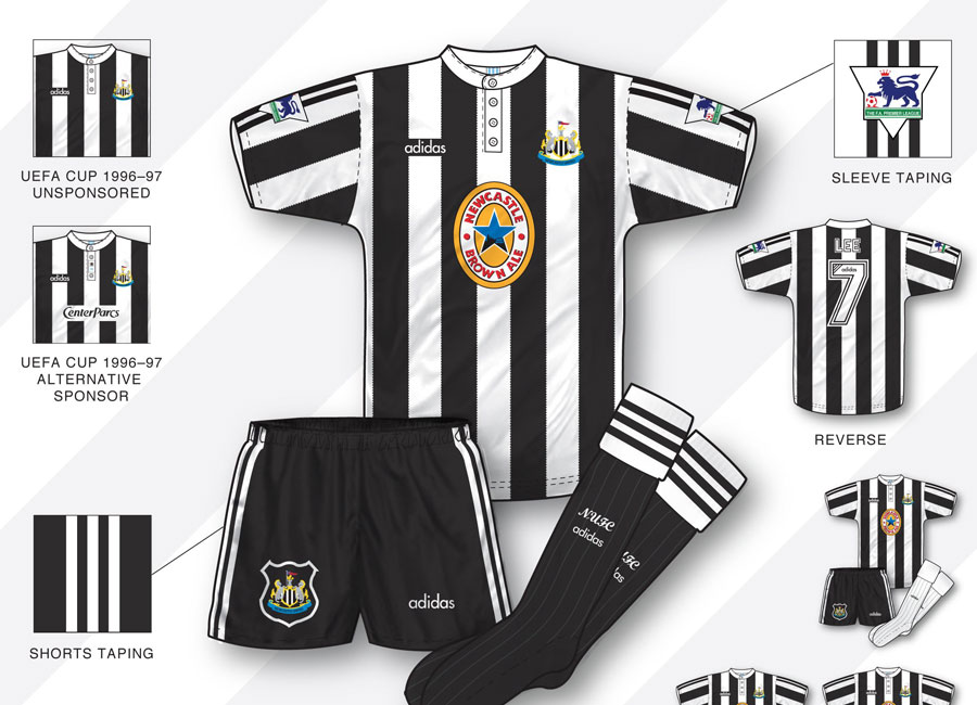 An in-depth look: Newcastle United 1995–97 Home Kit #NewcastleUnited #nufc #kitdesign