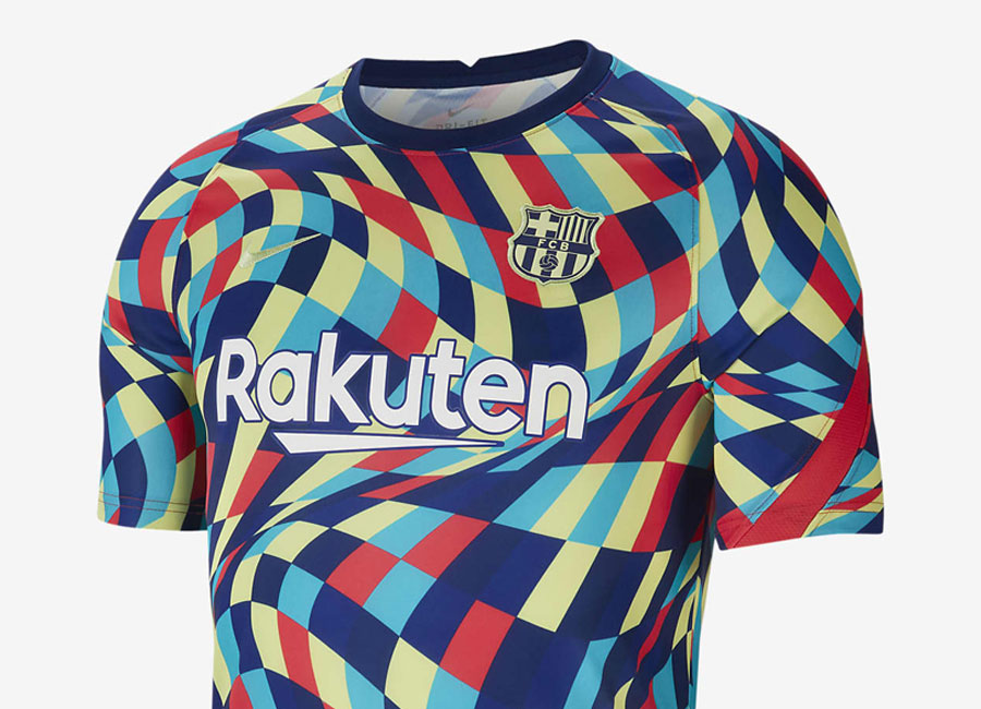 Barcelona Pre-Match Football Top - Blue Void / Blue Void / Light Fusion Red / Limelight #barca #fcbarcelona #nikefootball