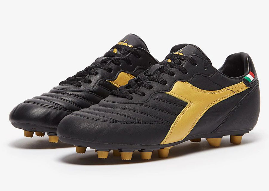 Diadora Brasil Leather+ FG - Black / Gold #Diadora #Diadorafootball #footballboots