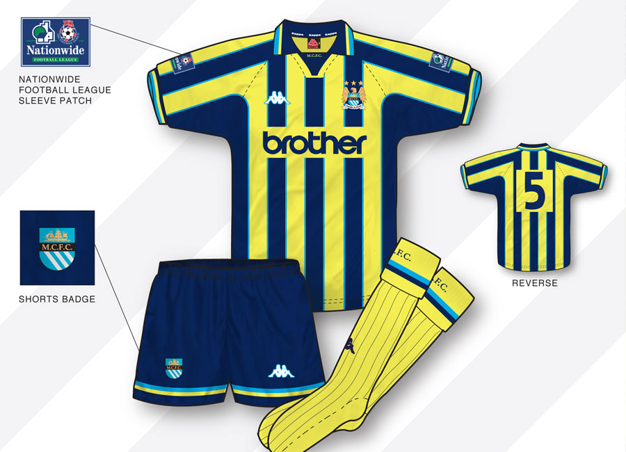 An in-depth look: Manchester City 1998–99 Away Kit #ManchesterCity #mcfc #kitdesign