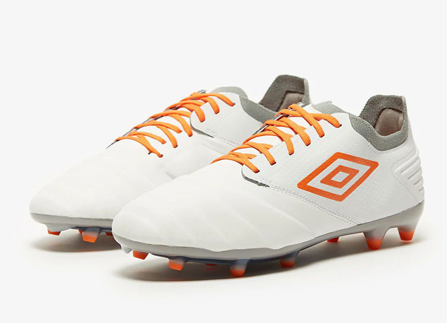 Umbro Tocco Pro FG - White / Carrot / Gray #footballboots #umbro