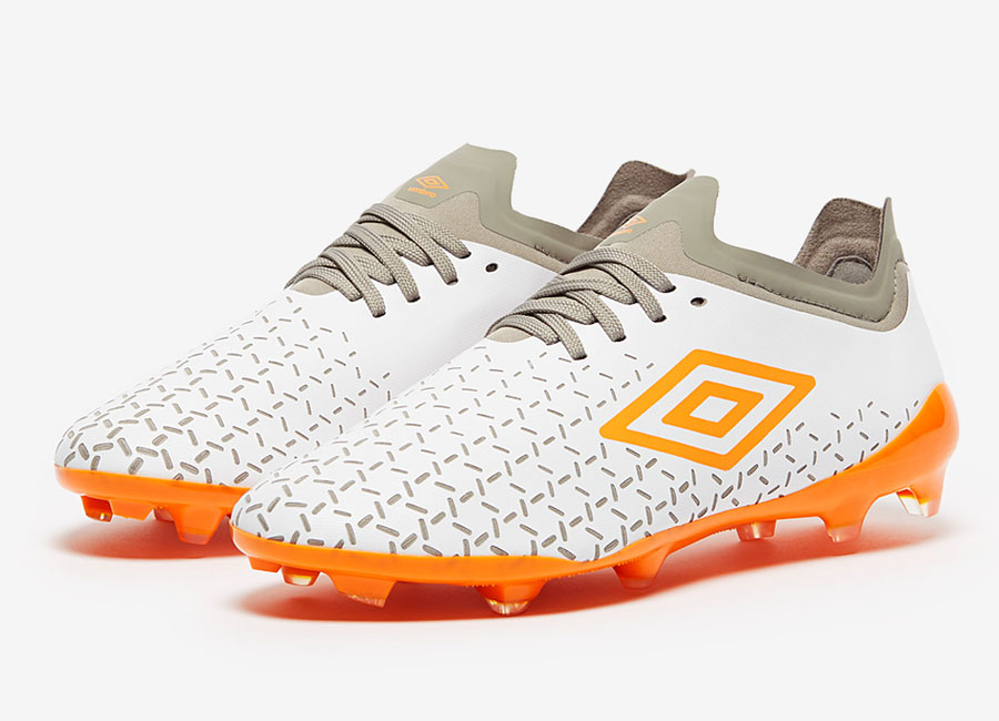 Umbro Velocita V Pro FG - White / Carrot / Gray #footballboots #umbro