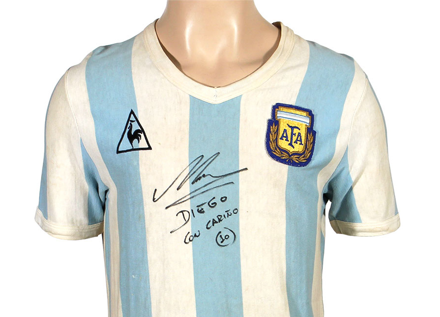 Diego Maradona 1982 World Cup Match Worn Jersey Up for Auction #maradona #matchworn #shirtcollector