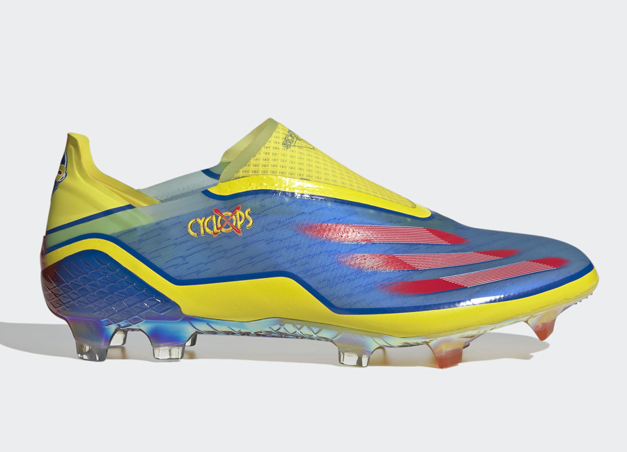 Marvel X Adidas Ghosted+ Laceless FG - Blue / Vivid Red / Bright Yellow #footballboots #adidasfootball #xmen #marvel