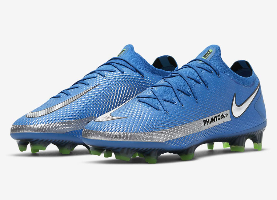 Nike Phantom GT Elite FG Spectrum - Photo Blue / Rage Green / Metallic Silver #footballboots #nikefootball
