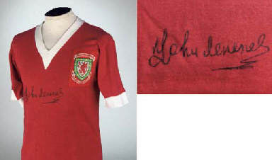A RED WALES INTERNATIONAL SHORT-SLEEVED SHIRT