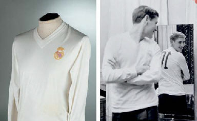 A WHITE REAL MADRID SHIRT