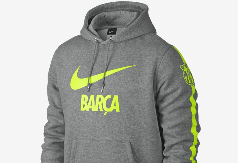 d23f68d2cc1 Nike FC Barcelona Club Core Hoodie - Dark Grey Heather   Volt ...