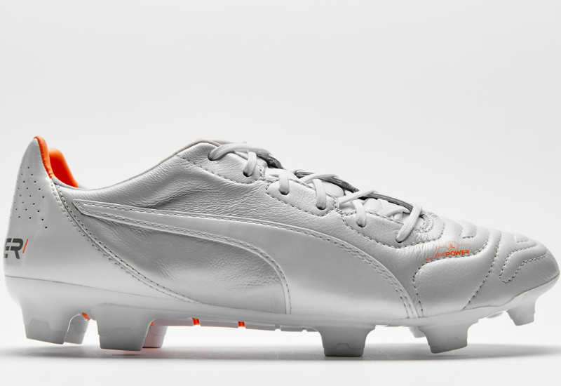 Puma Evopower 1 2 L Fg Football Boots Metallic White Metallic White Fluorescent Flash