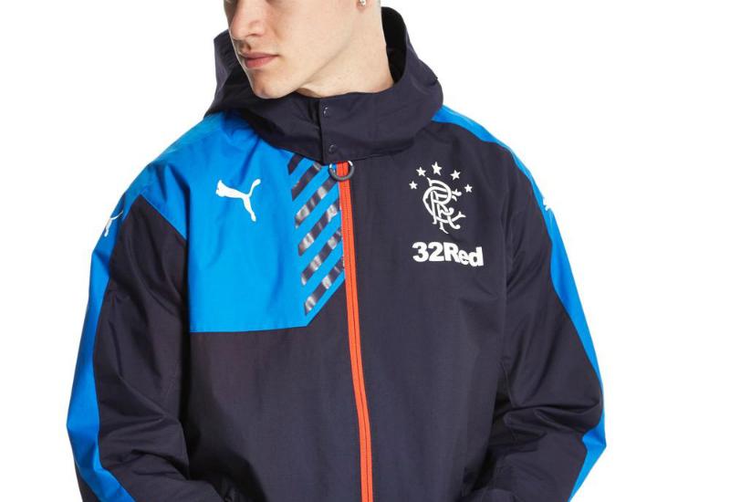 8ede833ce71 Puma Rangers FC Rain Jacket - Navy | Equipment | Football shirt blog