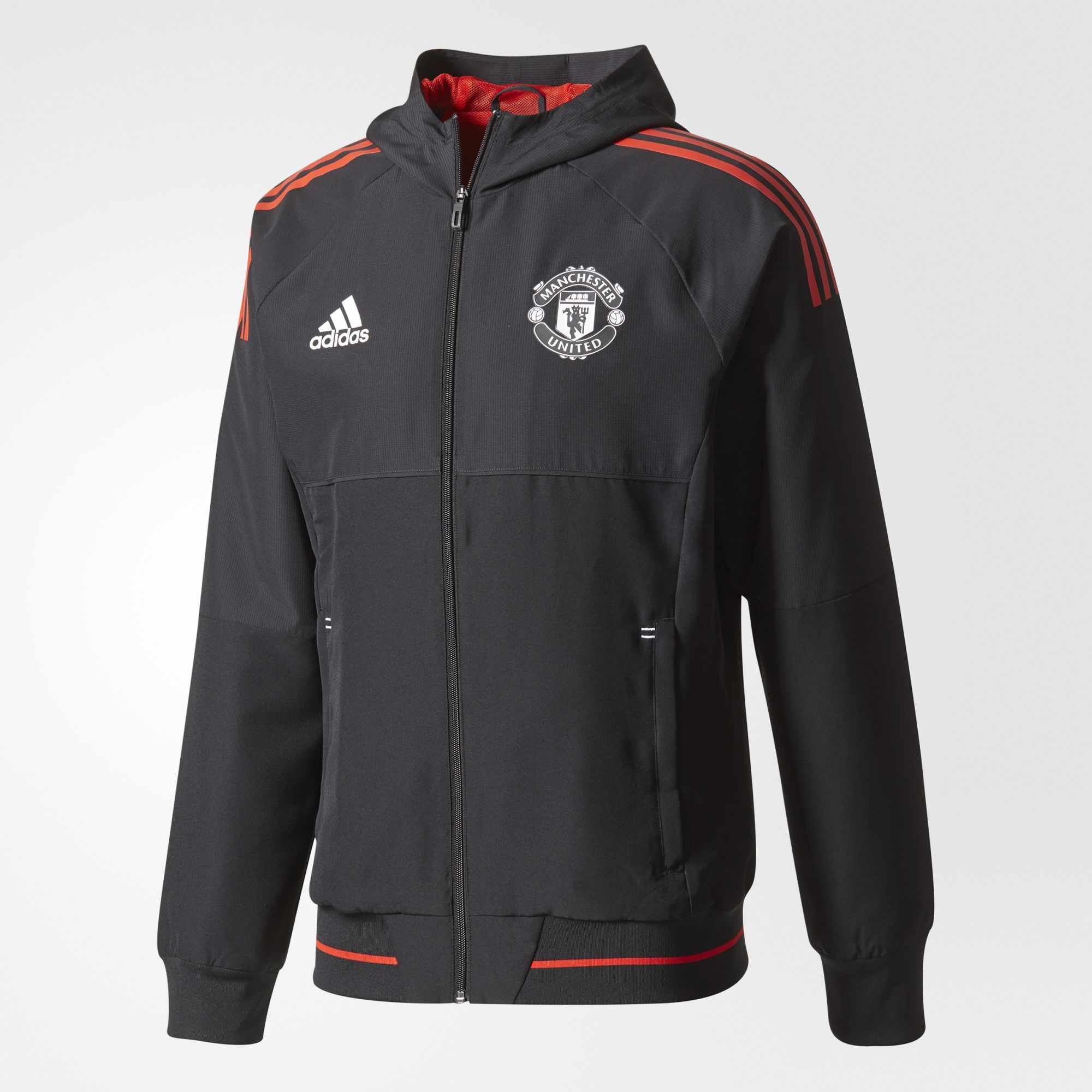 d2bb9e739 Adidas Manchester United Presentation Jacket - Black   Red ...