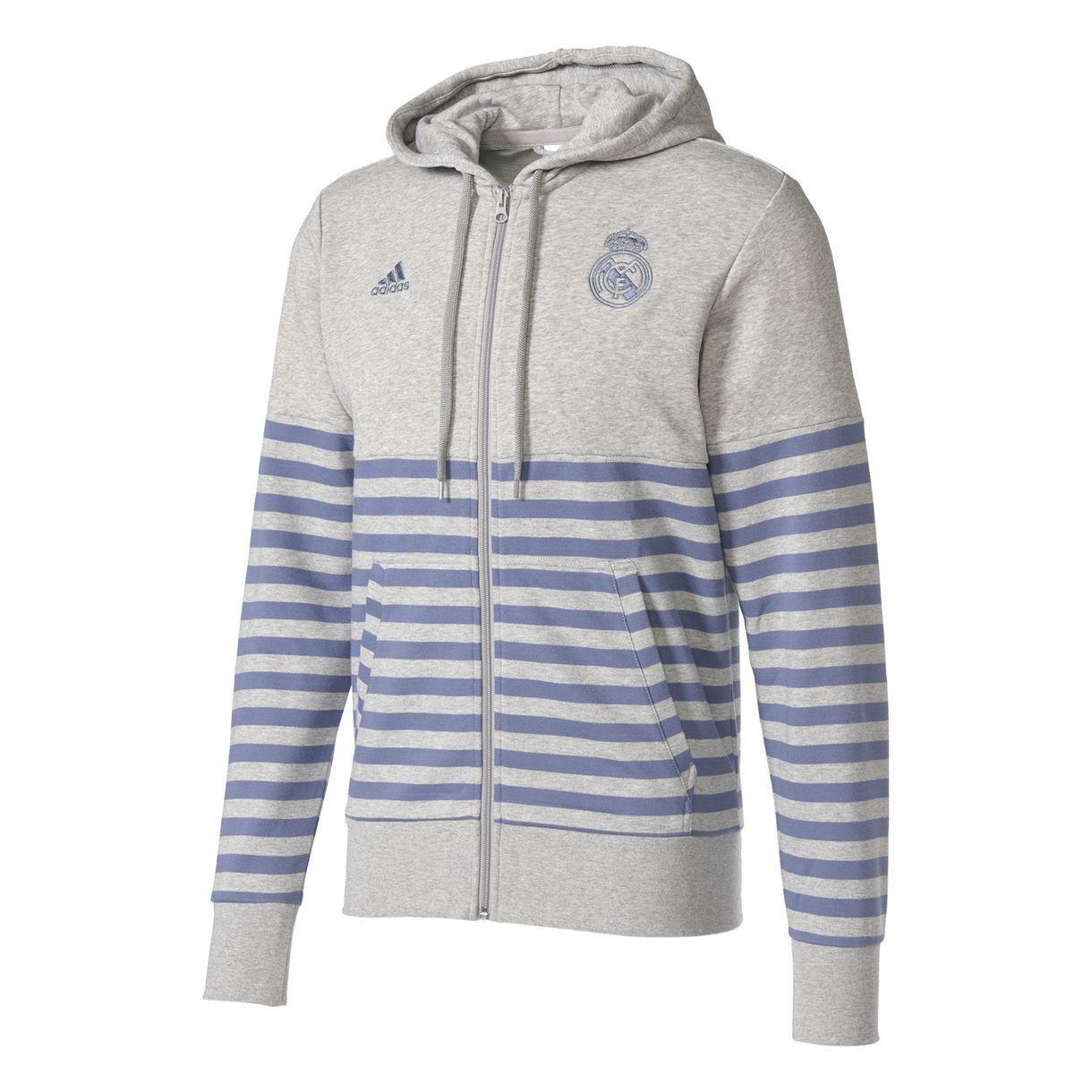 64b479532548 Adidas Real Madrid Hoodie FZ - Medium Grey Heather   Super Purple. Friday