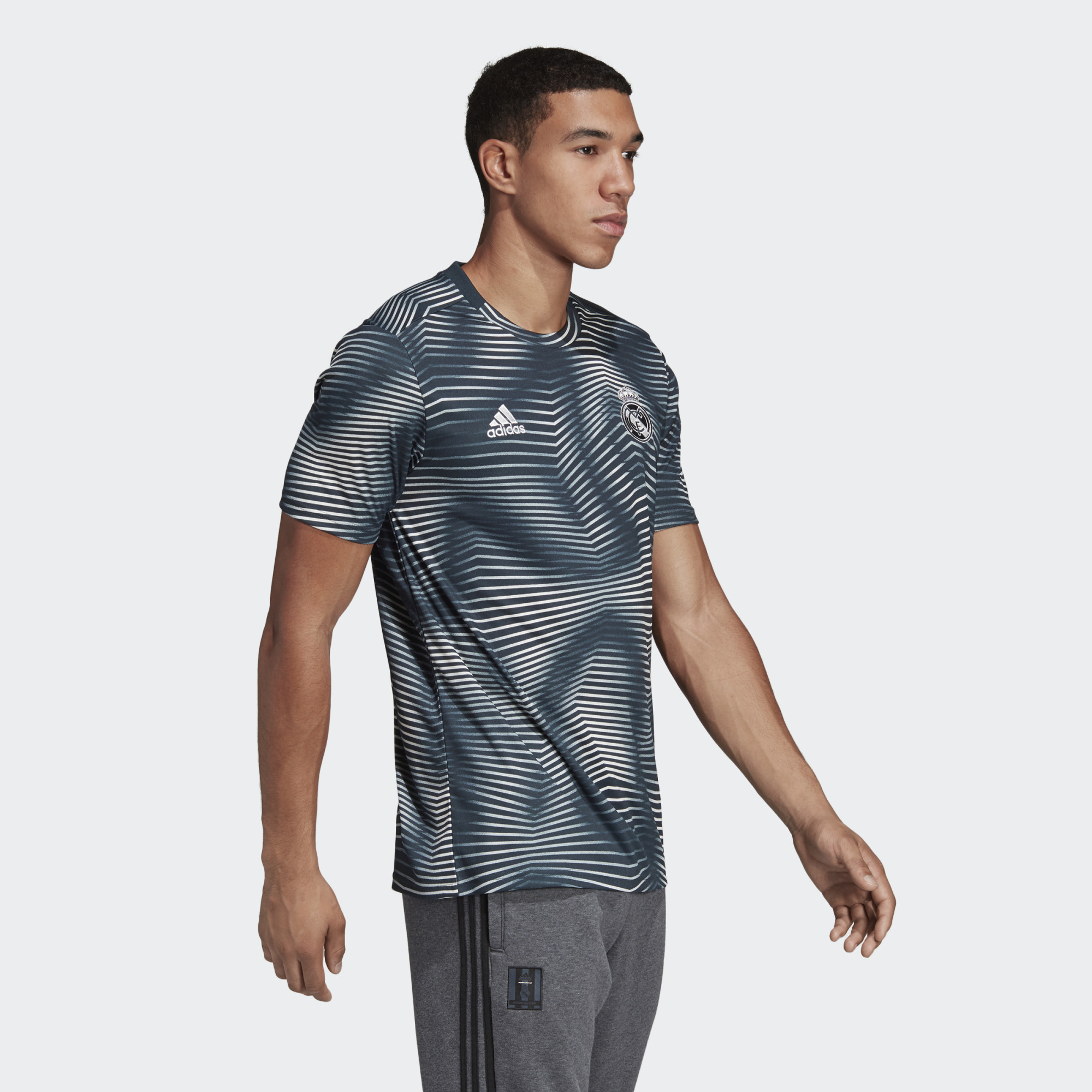 cba3f6285 ... Click to enlarge image  Real Madrid Pre-Match Jersey Grey DP2920 25 model.jpg ...