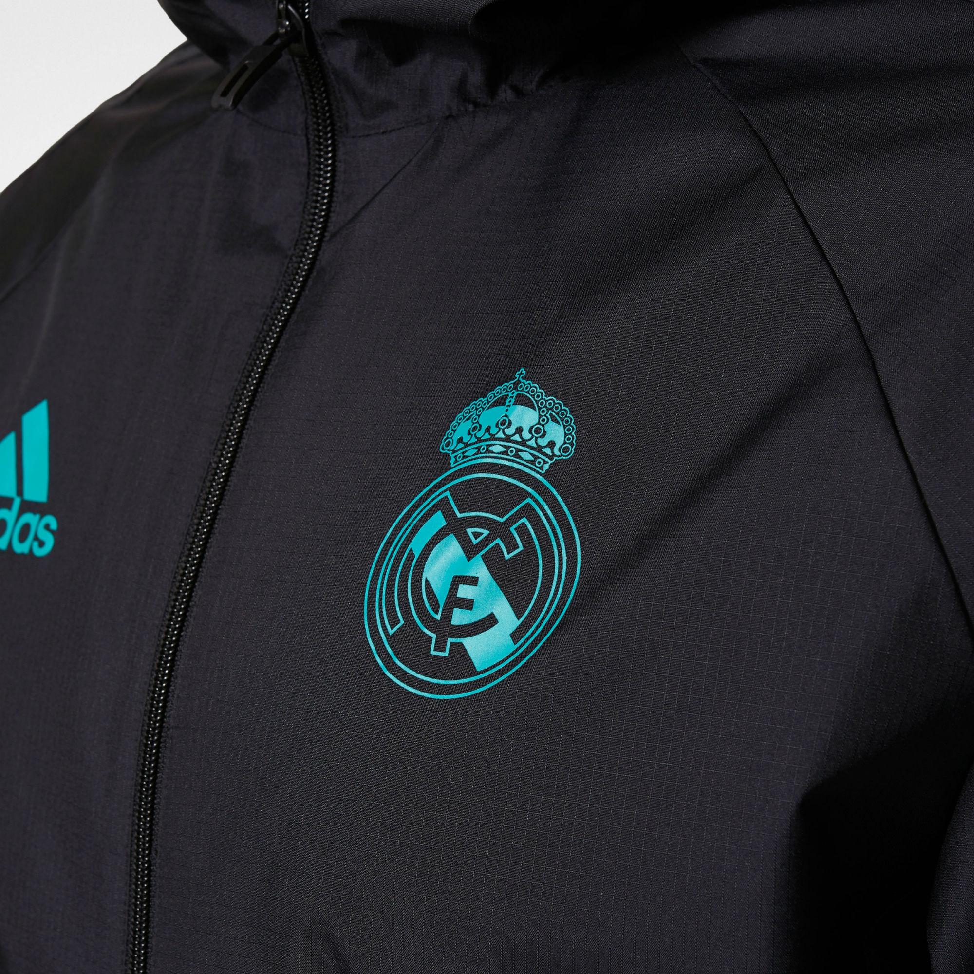 Adidas Real Madrid Training Rain Jacket Black Aero