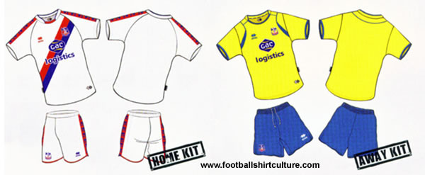 Crystal Palace home and away kit 08/09 by errea