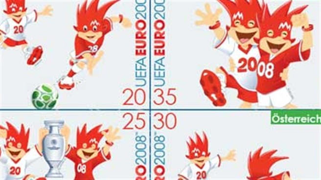 The Trix and Flix Stamp Sheet – with four Renate Gruber designs featuring UEFA EURO 2008™ mascots Trix and Flix.