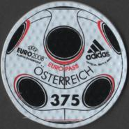 The special round self-adhesive adidas EUROPASS stamp is made of the same material, a synthetic mixture (containing polyurethane), as the 14-panel match ball produced for the finals by Adidas and called the Europass