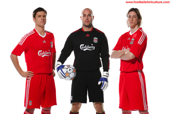 new liverpool home and GK kits made by adidas for the 2008/09 season