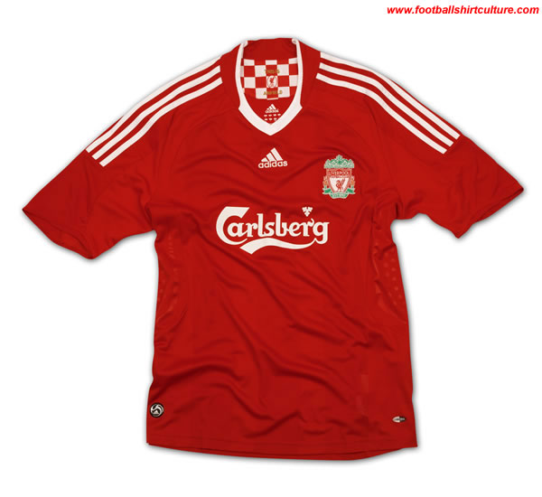 new liverpool home shirt made by adidas for the 2008/09 season