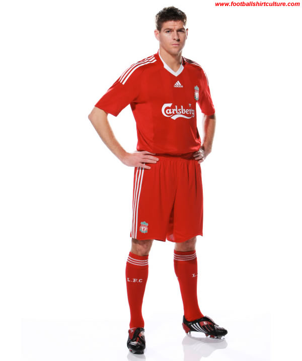 new liverpool home kit made by adidas for the 2008/09 season