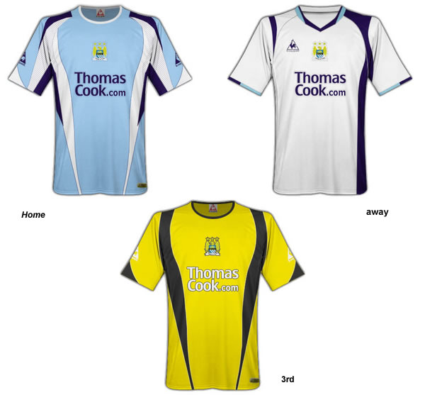 Manchester City Le Coq Sportif Fantasy home, away and 3rd kits