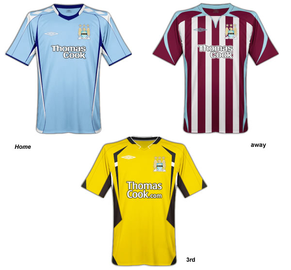 Manchester City Umbro Fantasy home, away and 3rd kits