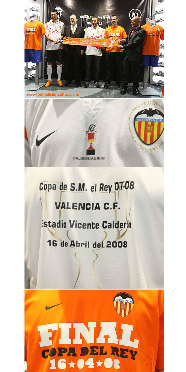 The three masters of Valencia CF, Ruben Baraja, Carlos Marchena and Raul Albiol, accompanied by the president of Valencia, Agustin Morera and director of communications , Jesus Wollstein,  presented the shirt in which valencia will face the most important of the season, the final of the Copa del Rey against Getafe.