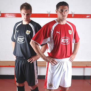 These are the home and away kits which will be worn by Bristol City in the Championship 07/08 season