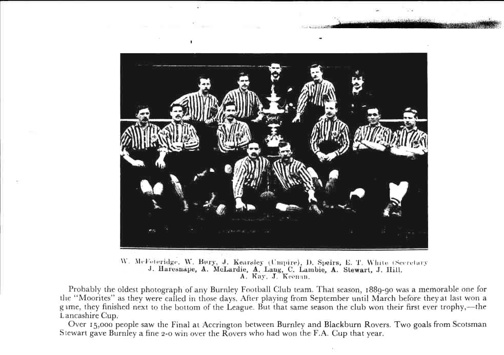 The famous photograph of April 1890, showing the Burnley players with the Lancashire Cup, is taken with the players wearing the light blue and white striped shirts for just about the last time before the club's colours were changes to all blue for the 1890/91 season.