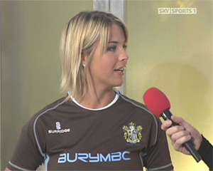 Model, actress and Bury Born Gemma Atkinson wore the new away shirt from Surridge Sports this morning on Sky Sport's Soccer AM.