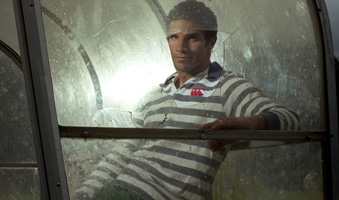 David James models leisure wear by Canterbury