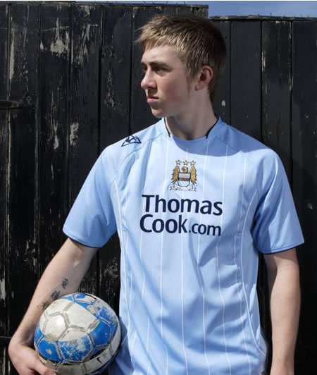 the new Manchester city's new home shirt made by le coq sportif for the 2007/2008 season.