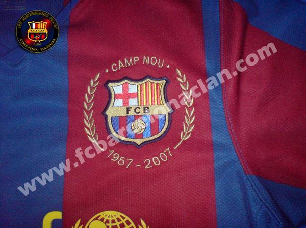 "Around the badge :  ""Camp Nou"" and""1957-2007″."