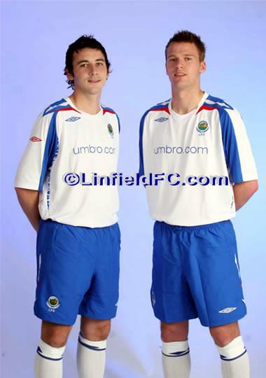 "Linfield Football Club is pleased to announce the launch of the eagerly awaited, new 2007-08 UMBRO away kit. Entertainment and refreshments will be available as the ""Back to Back Double Winners"" put on sale a striking new kit, produced by leading kit manufacturers and faithful club sponsors, UMBRO."